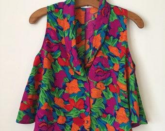 90s Flouncy Floral Crop Top