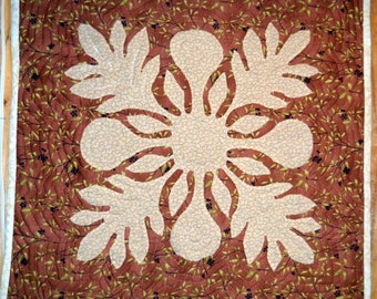 Wall Hanging Quilt Hand Quilted Hawaiian Style Breadfruit Tan and Brown