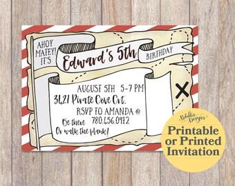 Pirate Birthday Invitation, Pirate Party Printable Invitations, Pirate Invitation, Printed Invitations, Treasure Map, Pirate Birthday Party