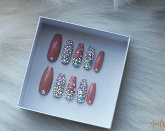 I like to Mauve it, Mauve it Fake Nails | Swarovski press on nails | Coffin, Ballerina, Stiletto, Almond, Square, Round etc