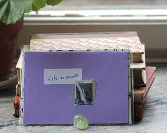 Life is sweet Lilac card with handwritten quote and Australian postal stamp