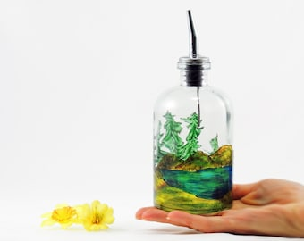 Hand painted bottle, Oil dispenser, Cruet, Carafe, Glass bottle, Pine trees landscape