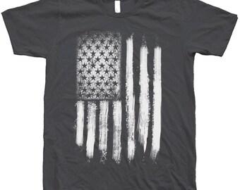 US Flag T Shirt Custom Hand Screen Print Crew Neck Available: S , M , L , XL , 2XL