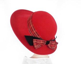 Woman's red hat, vintage tilt,  1960s wide brim with plaid ribbon