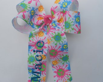 Hair Bow Monogrammed Name in Tie Dye and Peace Signs , Perfect for Cheer and more