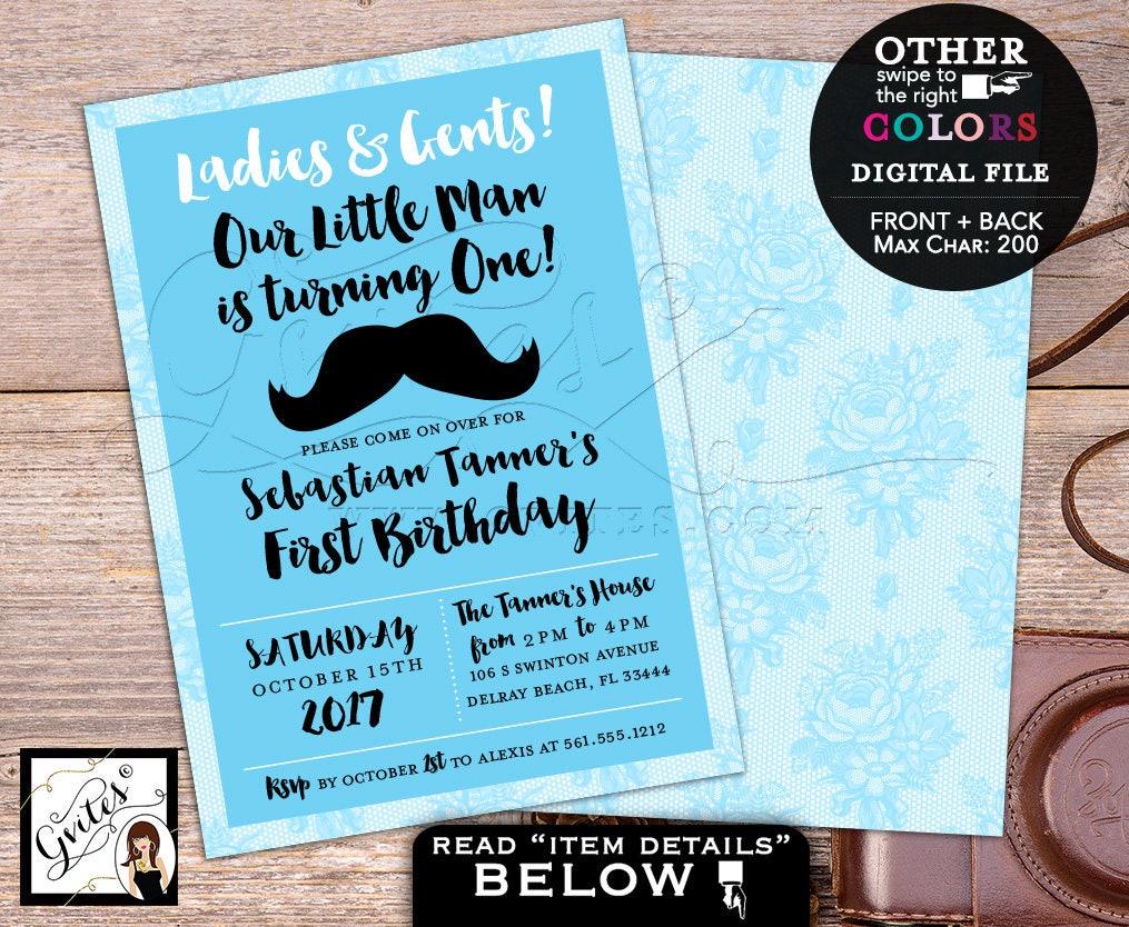 Little Man Birthday Invitation Mustache first invites 1st baby party ...