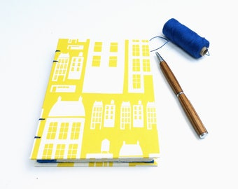 Hand made journal, notebook with coptic binding A6, yellow gratitude journal, sketchbook