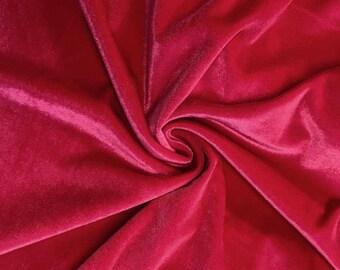 Stretch Velvet Fabric by the yard - Fuchsia