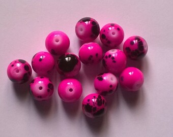 Set of 50 purple beads 10mm dots
