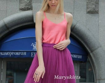 """Tulle skirt with matching lining, fixed waistband with hidden zipper (color 45 """"Bougainvillea"""")"""