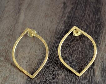 Gold Earrings, Gold stud earrings, Gold leaf earrings slightly hammered shaped as leaves