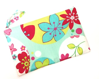 Zippered Pouch, Makeup pouch, Pencil case,  Flowers in Aqua Blue Pink Yellow