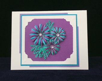3D multicoloured flower card, unique card, thank you card, thinking of you card, friendship card, note card, blank inside card, birthday