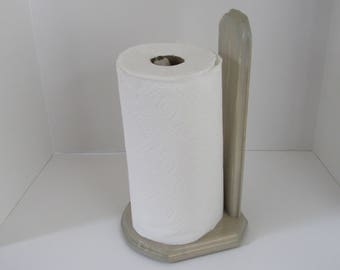 Weathered wood and driftwood paper towel holder