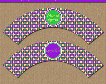 Mardi Gras Cupcake Wrappers, Cupcake Wrapper Template, Mardi Gras Party Decor, EDITABLE Mardi Gras Birthday Cupcake Wrappers Printable M1