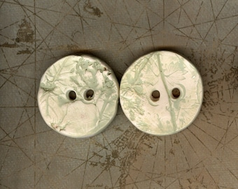 Pale green Handmade ceramic buttons Artisan ceramic textured buttons extra large hole buttons Large button stonewear button porcelain button