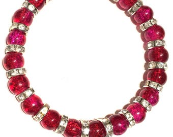 Pink And Red Glass Beaded Angel Wing Heart Charm Bracelet