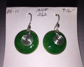 Earrings - hand-made, Enameled Copper