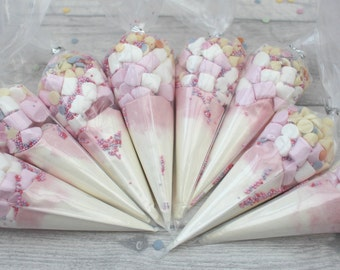 Unicorn party favours, white pink hot chocolate mix, gifts for her, baby shower, hot chocolate cones, party gifts, , birthday, party bags,
