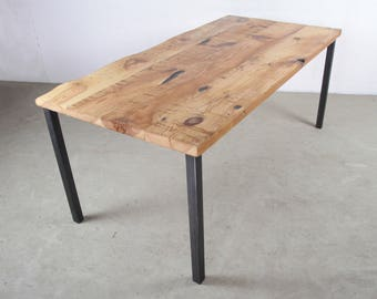 Solid wood dining table with straight steel legs - Reclaimed wood table set on thick steel table legs, Handmade in Berlin, Modern piece