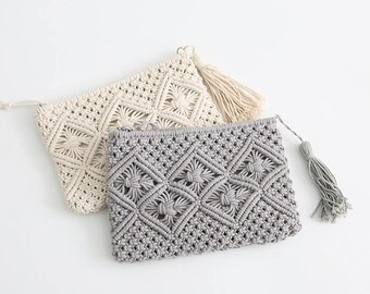 Handmade macrame clutch bag -  Boho macrame bag-cotton rope tassel  bag width 10''x height 8""