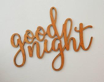 "Wooden Sign ""Good Night"" - LASER CUT"