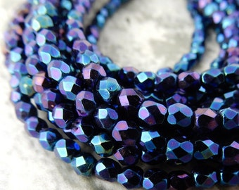 Faceted Round IRIS BLUE Czech Glass Round Beads 3mm Qty 50 Firepolished Small, Gorgeous Iris Blue Beads