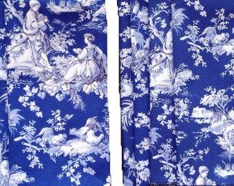Navy and white toile (8) cloth napkins 18x18