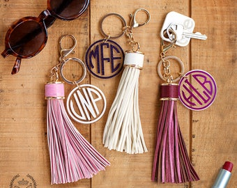 ETSY BIRTHDAY SALE  Large Leather Monogram Keychain Tassel, Personalized Key Chain, Initial Keychain, Key Fob