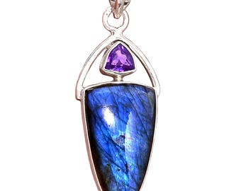 Labradorite and Amethyst Shield Pendant - Hand-fabricated Sterling setting.