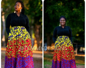 Multicolored African maxi skirt with pockets, Ankara skirt, African print, African clothing for women, women clothing, African skirt