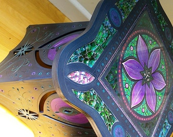 Tulip and Stars, Mosaic wooden, laser cut, table, Blue & purple, mosaic art - SOLD