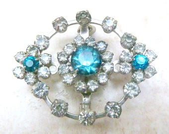 Vintage Blue And Clear Rhinestone Floral Brooch