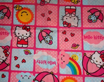 44 Inches Pink Hello Kitty Blocked Fabric Cotton Fabric