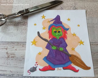 Illustrated fabric coupon - polycotton 22 x 20 cm