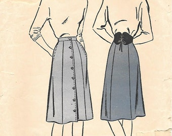 CLOSE OUT/ Waist 26-Advance 4068 1940s 6 Gore Skirt with Side Seam Pockets Vintage Unprinted Sewing Pattern