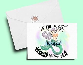 mermaid card, mermaid watercolor, friend card, friendship card, girlfriend card, wife card, fiance card