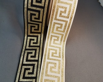 Greek Key Metallic Jacquard Ribbon, 1+1/2 inch sold by the yard