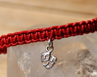 Bracelet red braided leather with magnetic clasp