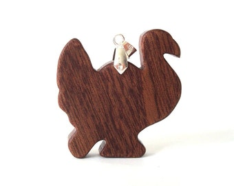 Simple Woodland Turkey Necklace Sapele Hand Cut Thanksgiving Pendant Scroll Saw