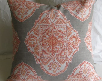 24x24 MALTA APRICOT  taupe gray large PILLOW cover