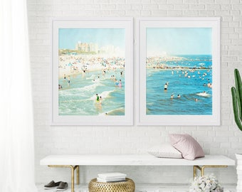 "Oversize Art Large Beach Photography Diptych // Set of TWO Beach Prints // Large Scale Art for a modern home // Coney Island ""Peeps Dips"""