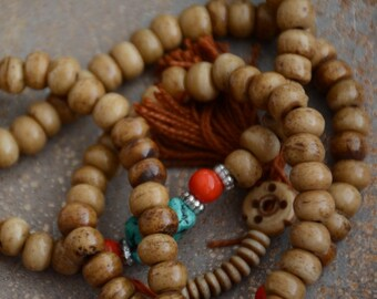 Bone Beads Mala Antiqued Brown Bone Beads 8mm Rondelle Beads Tibetan Prayer Mala 108 Beads Handmade Tea Stained Bone Beads LUM14-8