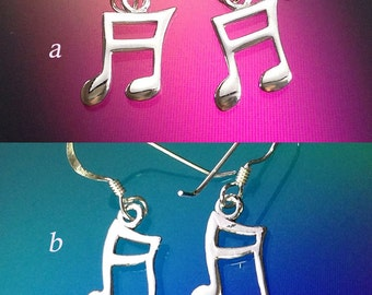 925 Solid Sterling Silver MUSIC NOTE Earrings / Music Lover Jewelry/ Dangle/ Hook Earrings
