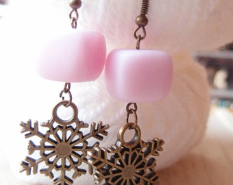 Pink Snowflake Earrings-snowflake pendant-Winter gift earrings-link earrings-Snowflake pendant-White