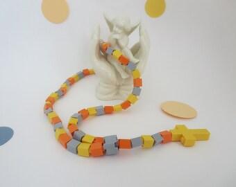 Lego Rosary - Yellow Grey and Orange Kids Rosary made of Lego Bricks