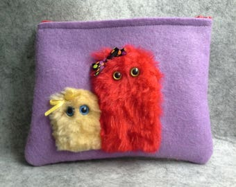 Makeup Pouch with Zipper Two Little Furry Monsters
