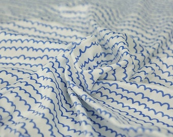Blue Wavy Lines Smooth Minky Fabric - 59 Inches Wide - By the Yard 96700