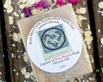 Legend of Two Hearts Soap - Irish Soap - Ireland Collection - Spa Soap - Goat Milk Soap - Natural Soap - Handmade Soap - Suni Skyz Farm Soap