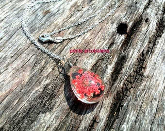 Glass drop red flower necklace/ dried flower/ wire/ jewelry/ gift/ anniversary/